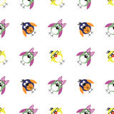 Seamless vector pattern with animals, cute background with birds, penguins and chicks. Royalty Free Stock Photo