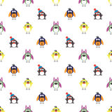 Seamless vector pattern with animals, cute background with birds, penguins and chicks Stock Photo