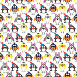 Seamless vector pattern with animals, cute background with birds, penguins and chicks Stock Photography