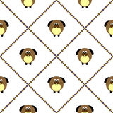 Seamless vector pattern with animals. Cute background with comic dogs on the white backdrop. Stock Photo