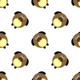 Seamless vector pattern with animals. Cute background with comic dogs on the white backdrop. Stock Photos