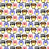 Seamless vector pattern with animals. Cute background with comic pigs, sheeps, dogs and cows on the white backdrop. Series of Animals and Insects Seamless Stock Image