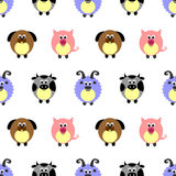 Seamless vector pattern with animals. Cute background with comic pigs, sheeps, dogs and cows on the white backdrop Royalty Free Stock Image