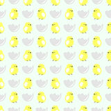 Seamless vector pattern with animals, cute background with little chiсkens in the shell, over light backdrop.  vector illustration