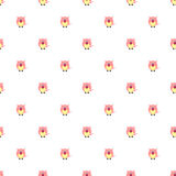 Seamless vector pattern with animals. Cute background with pink pigs on the white backdrop Royalty Free Stock Images