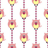 Seamless vector pattern with animals. Cute background with pink pigs on the white backdrop. Stock Images