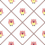Seamless vector pattern with animals. Cute background with pink pigs on the white backdrop Stock Photos