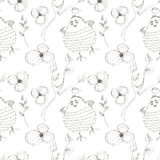 Seamless vector pattern with animals. Cute hand drawn background with birds and flowers on the white backdrop Royalty Free Stock Images