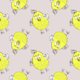 Seamless vector pattern with animals. Cute hand drawn background with yellow chicken on the grey backdrop Stock Photos
