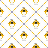Seamless vector pattern with animals, cute symmetrical background with chikens with glasses and dots in the shape of rhombus. Stock Images