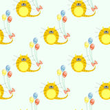 Seamless vector pattern with animals. Cute symmetrical background with closeup red cats and colorful balloons on the white backdro Stock Photos