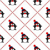 Seamless vector pattern with animals, cute symmetrical  background with penguins with winter hats Royalty Free Stock Photos