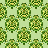Seamless vector pattern with animals. Symmetrical background with closeup decorative turtles on the green backdrop Stock Images