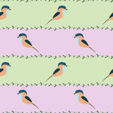 Seamless vector pattern with animals. Symmetrical background with colorful birds and branches Royalty Free Stock Photo