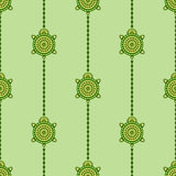 Seamless vector pattern with animals. Symmetrical background with turtles and lines on the green backdrop. Series of Animals and Insects Seamless Patterns Stock Image