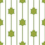 Seamless vector pattern with animals. Symmetrical background with turtles and lines on the white backdrop Stock Photography