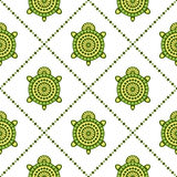 Seamless vector pattern with animals. Symmetrical background with turtles and rhombus on the white backdrop Stock Photography