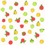 Seamless vector pattern of apple. Multi-colored apples on a white background Stock Image