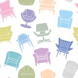 Seamless vector pattern of armchairs Royalty Free Stock Photo