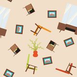 Seamless vector pattern with armchairs, paintings, mirrors and nightstand. Stock Photography