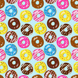 Seamless vector pattern of assorted doughnuts with different top. Pings Stock Photography