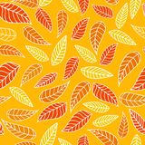 Seamless pattern with leaves in yellow colors royalty free illustration