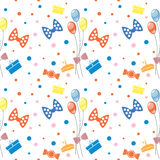 Seamless vector pattern. Background with colorful ballons, bows food and gifts on the white backdrop Stock Photos