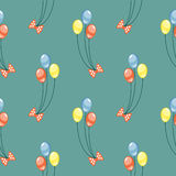 Seamless vector pattern. Background with colorful balloons and bows on the blue backdrop Stock Image