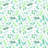 Seamless vector pattern, background with colorful branches and leaves on the white backdrop. Hand sketch drawing. Imitation of ink pencilling. Series of Hand vector illustration