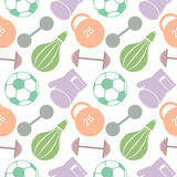Seamless vector pattern.  Background with colorful closeup sports equipment. Soccer ball, punching bag, gloves, barbells, dumbbell Royalty Free Stock Photography