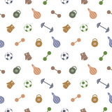 Seamless vector pattern.  Background with colorful sports equipment. Soccer ball, punching bag, gloves, barbells, dumbbells and we Stock Photography