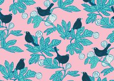 Seamless vector pattern background with cute birds on the branches of a fig tree on pink background. Surface pattern vector illustration