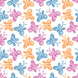 Seamless vector pattern, background with cute butterflies on the white backdrop. Stock Image