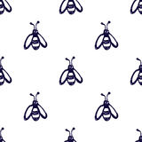 Seamless vector pattern, background with cute wasps on the white backdrop. Hand sketch drawing. Imitation of ink pencilling. Royalty Free Stock Image