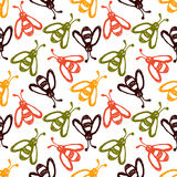 Seamless vector pattern, background with cute wasps on the white backdrop. Hand sketch drawing. Imitation of ink pencilling. Series of Insects and Hand Drawn Royalty Free Stock Photography