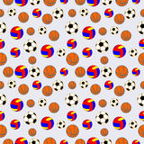 Seamless vector pattern, background with elements of colorful balls for football, volleyball and soccer Stock Photo