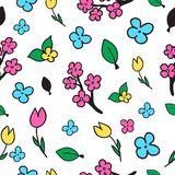 Seamless vector pattern background. Floral vector pattern drawn by hand. Royalty Free Stock Photo