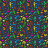 Seamless vector pattern, background with flowers and leaves on the blue backdrop. Royalty Free Stock Photo