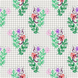 Seamless vector pattern, background with flowers and leaves on the checkered paper. Hand sketch drawing. Royalty Free Stock Photo