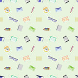 Seamless vector pattern, background with glasses, academic caps, letters, pens, pencils, notebooks and alarm clocks on the light b Stock Images
