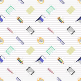 Seamless vector pattern, background with glasses, academic caps, letters, pens, pencils, notebooks and alarm clocks on the lined w Royalty Free Stock Images