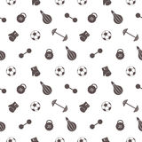 Seamless vector pattern.  Background with grey sports equipment. Soccer ball, punching bag, gloves, barbells, dumbbells and weight Royalty Free Stock Photo