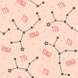 Seamless vector pattern. Background with the image of constellation. Virgo zodiac sign on a sandy beige background with star. Pattern for design packaging Royalty Free Stock Photos