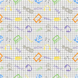 Seamless vector pattern, background monitor, notebook, router, usb and microphone on the checkered backdrop. Royalty Free Stock Photos