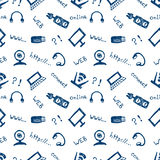 Seamless vector pattern, background monitor, notebook, router, usb and microphone on the white backdrop. Stock Image