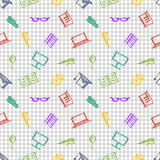 Seamless vector pattern, background notebooks, pens, pencils, glasses and books on the checkered paper. Royalty Free Stock Photo