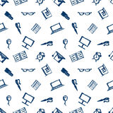Seamless vector pattern, background notebooks, pens, pencils, glasses and books on the white backdrop Stock Photo