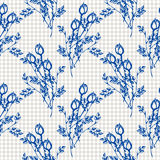 Seamless vector pattern, background with roses, branches and leaves on the checkered backdrop. Royalty Free Stock Photos