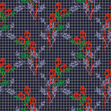 Seamless vector pattern, background with roses, branches and leaves on the dark blue checkered backdrop. Hand sketch drawing. Royalty Free Stock Photos