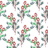 Seamless vector pattern, background with roses, branches and leaves on the white backdrop. Hand sketch drawing. Stock Photo